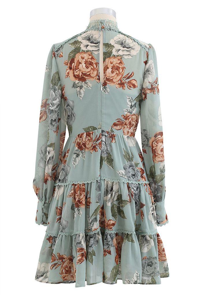 Floral Print Crochet Trim Frilling Chiffon Dress in Green