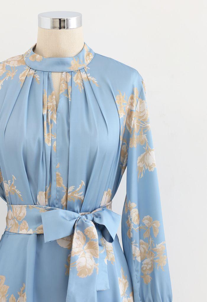 Grab the Spotlight Floral Bowknot Satin Dress in Blue