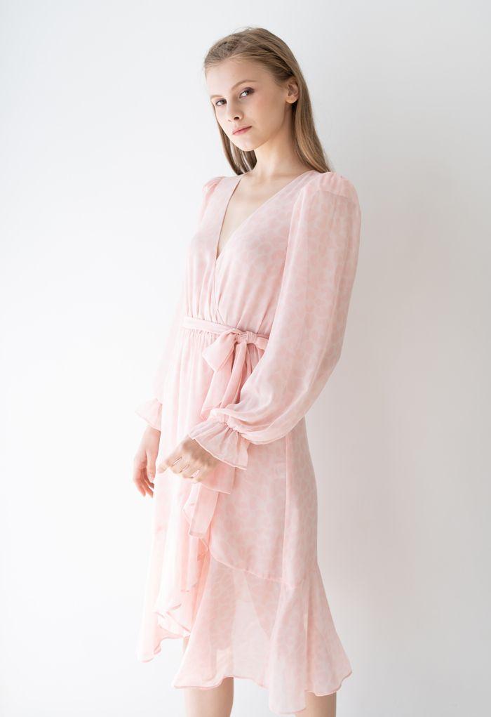 Pinky Leopard Ruffle Chiffon Wrapped Dress