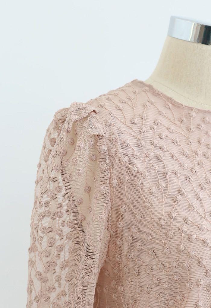 Robe en maille à pois vigne brodés en vieux rose