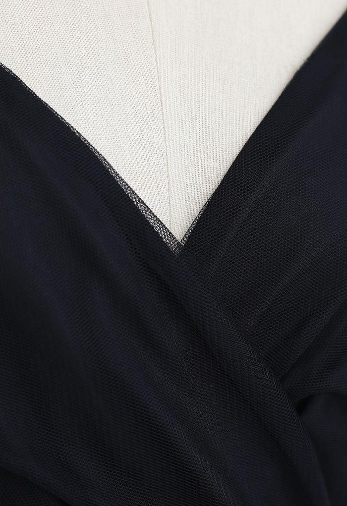Robe nuisette midi cache-cœur en maille noire