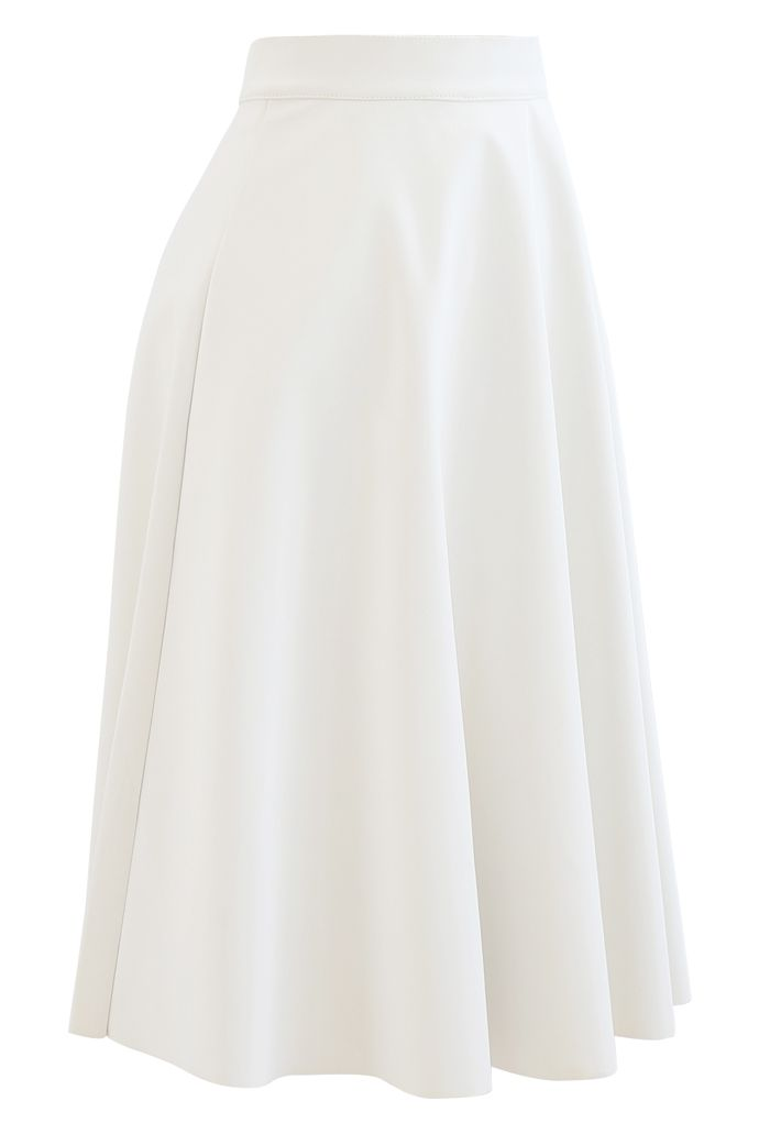 Sleek Faux Leather A-Line Midi Skirt in White