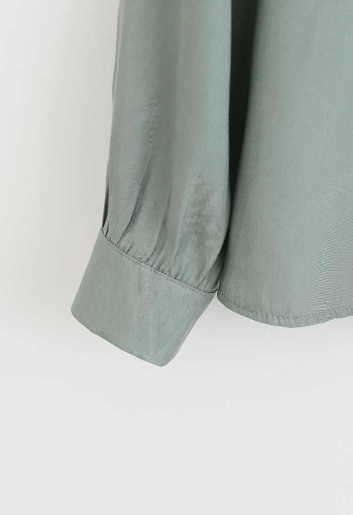 Shimmer Bowknot Button Down Shirt in Teal