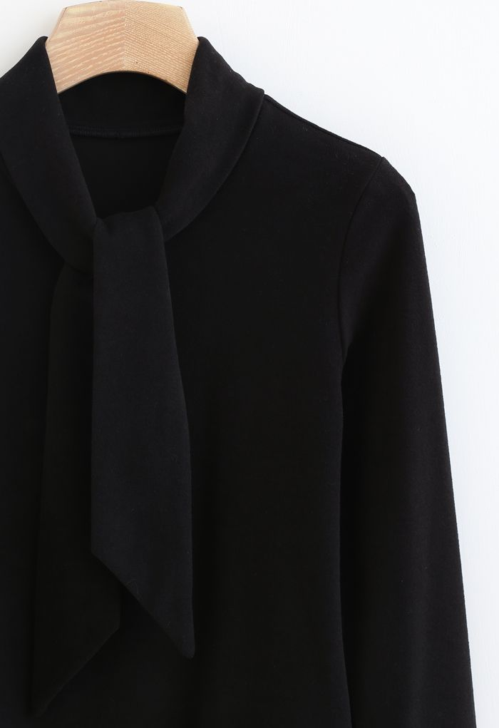 Tie-Neck Soft Touch Long Sleeves Top in Black