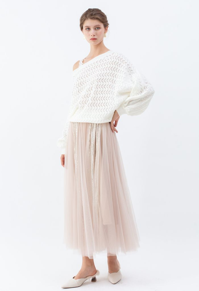 One-Shoulder Strap Eyelet Knit Sweater in White