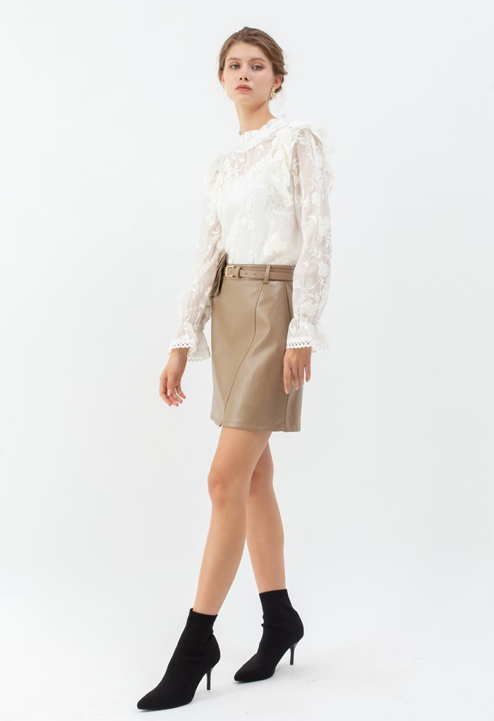 Sheer Organza Embroidered Floral Ruffle Top in White