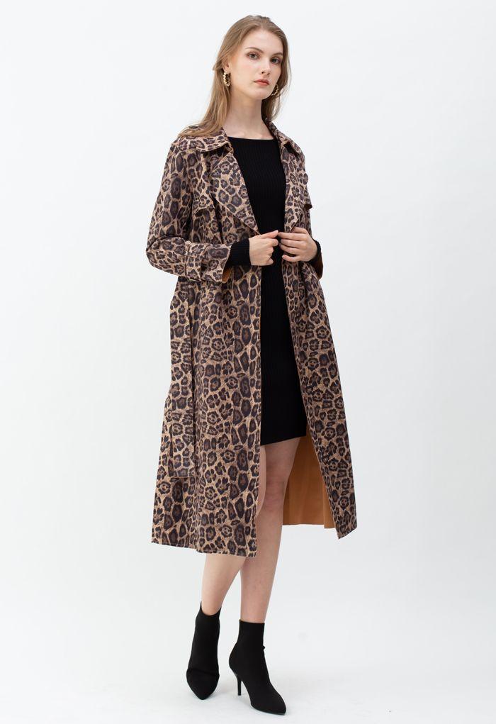 Suede Leopard Belted Split Longline Coat