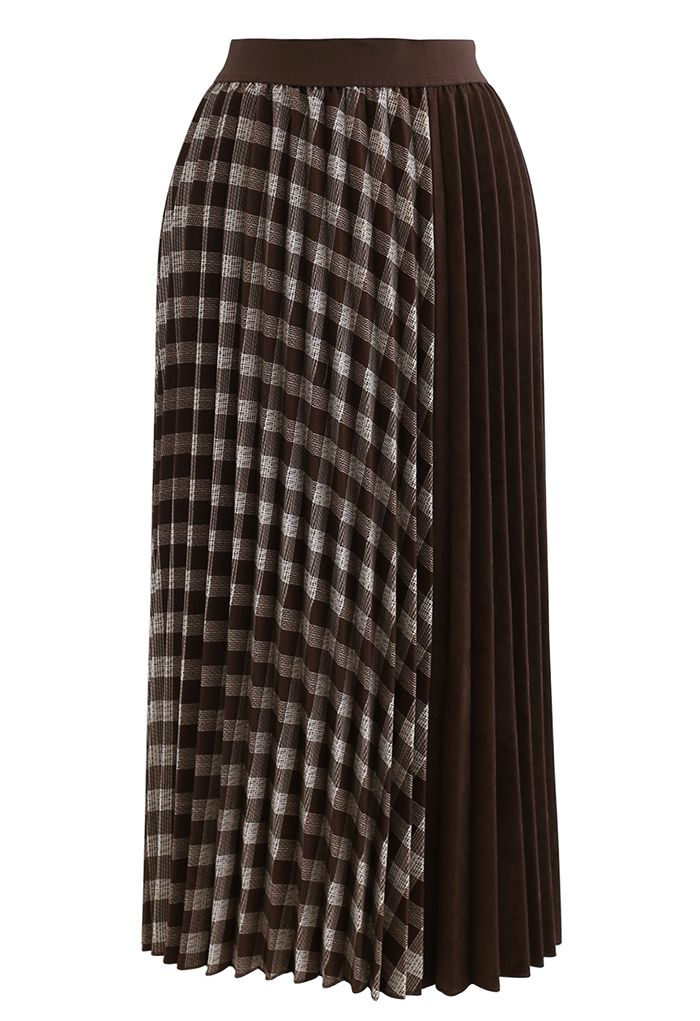 Check Corduroy Pleated Midi Skirt in Brown