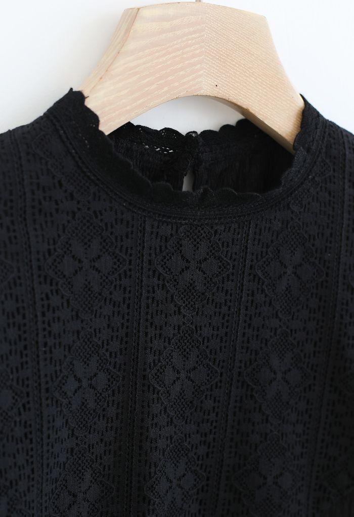 Crochet Panelled Puff Sleeves Smock Top in Black