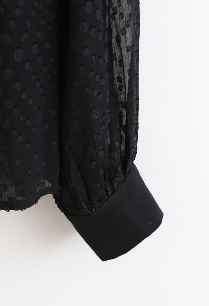 Spots Jacquard Chiffon Shirt in Black