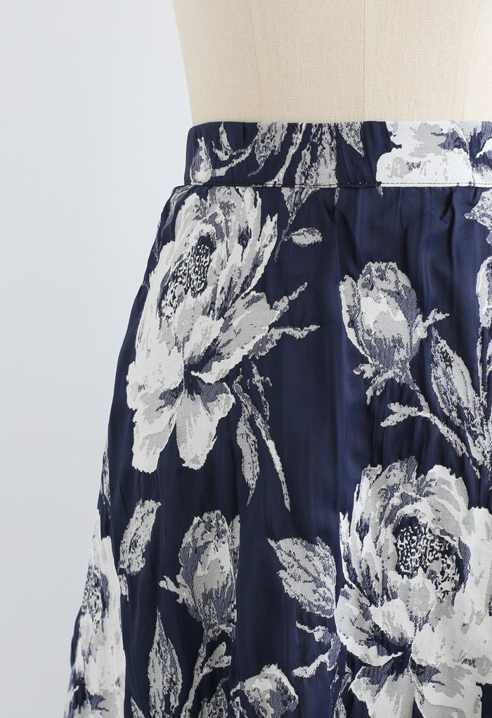 Navy Floral Jacquard Pleated Midi Skirt