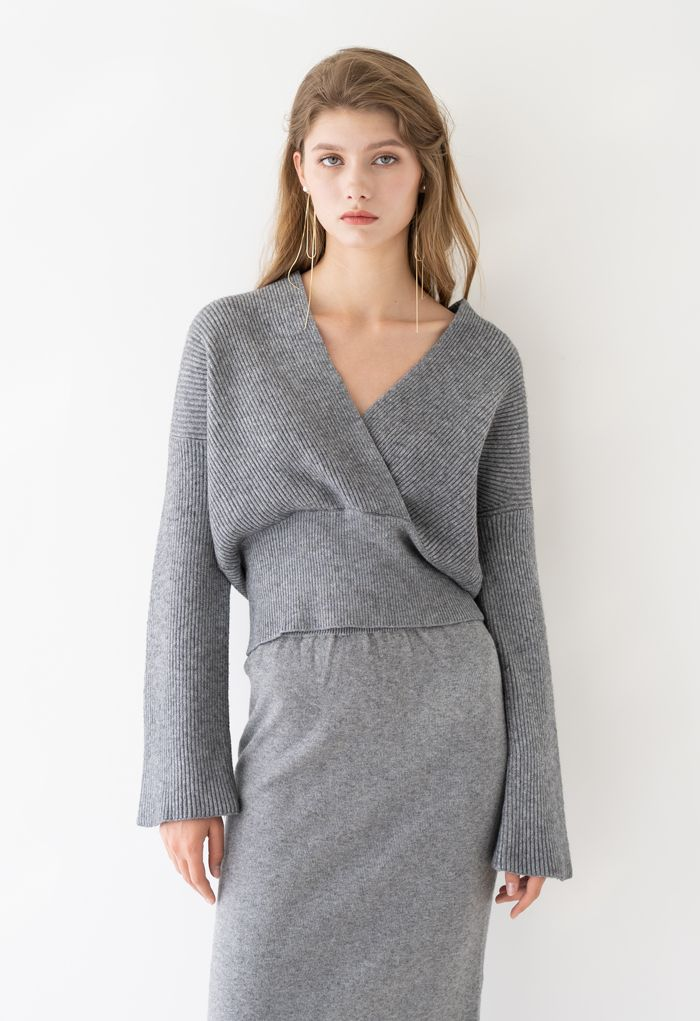 Ribbed Flare Sleeves Wrap Knit Top in Grey