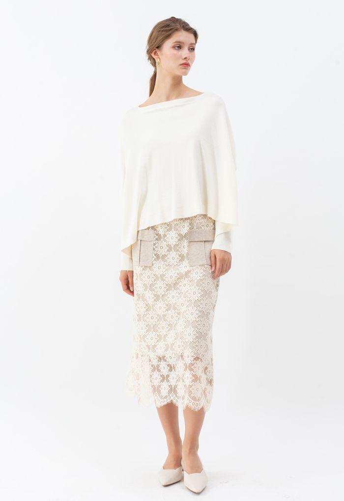 Soft Flare Hem Cape Sweater in Ivory