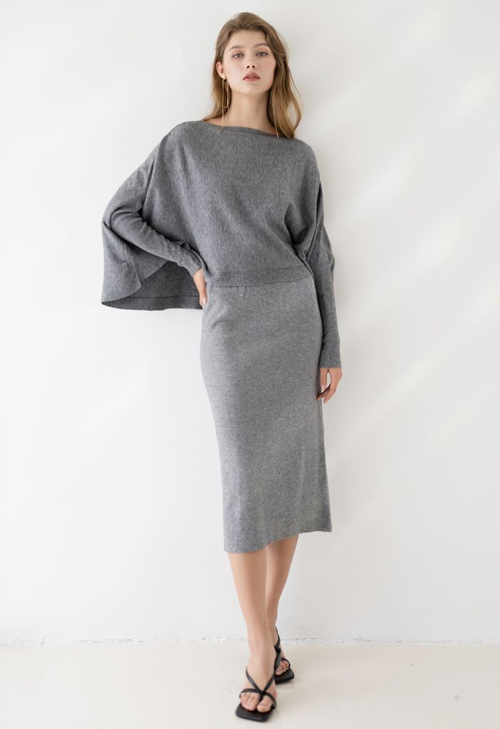 High Waist Ribbed Knit Pencil Skirt in Grey