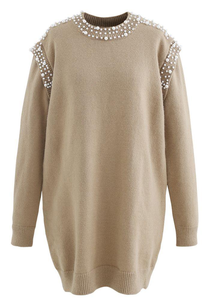 Pearl Decoration Longline Sweater in Camel