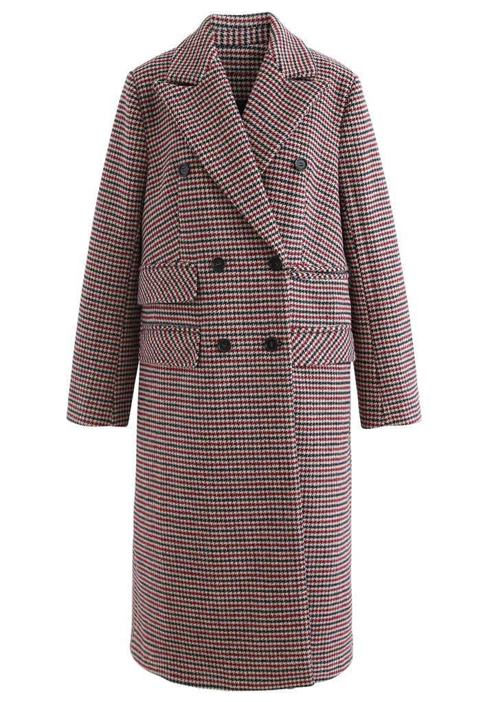 Houndstooth Double-Breasted Wool Blend Longline Coat in Wine