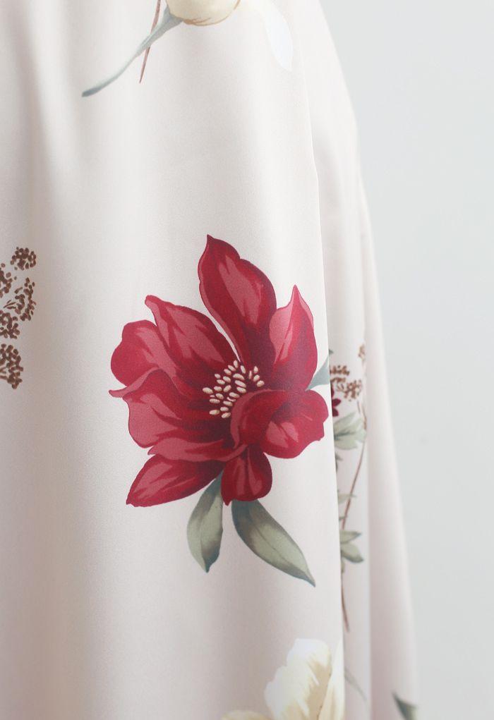 Jupe trapèze taille haute à imprimé floral
