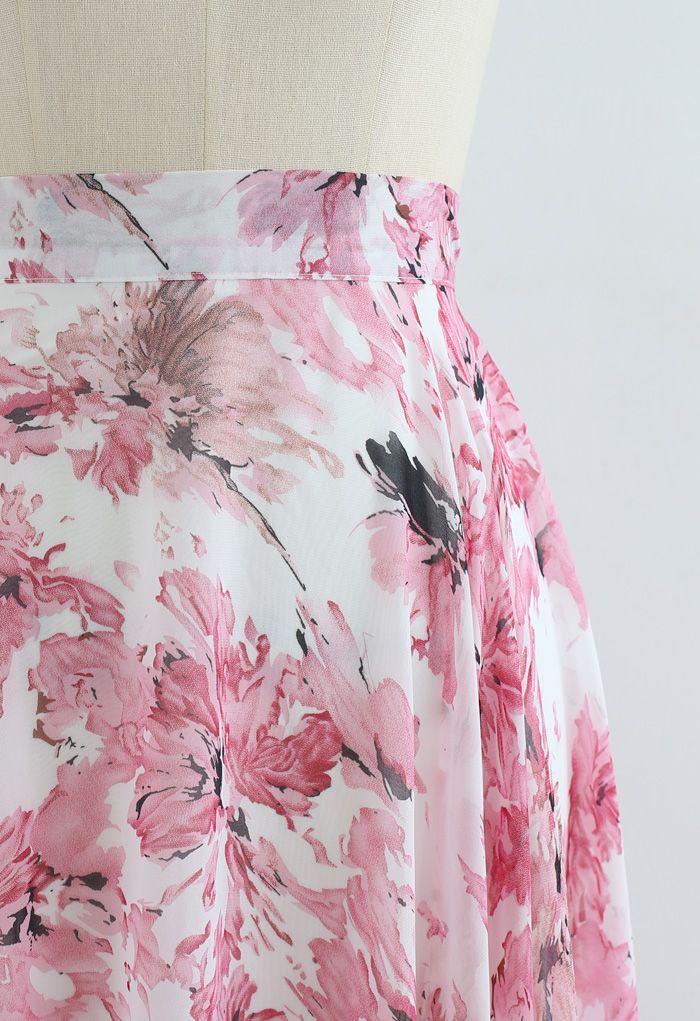 Jupe longue en mousseline de soie à fleurs Timeless Favorite en rose