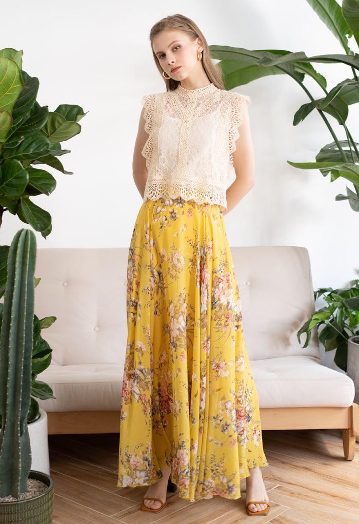 Jupe longue en mousseline de soie à fleurs Timeless Favorite en jaune