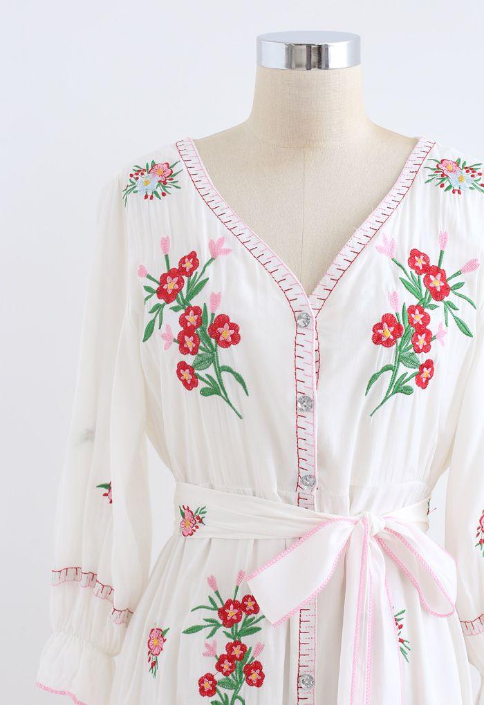 Robe mi-longue boutonnée boutonnée brodée rouge Bouquet
