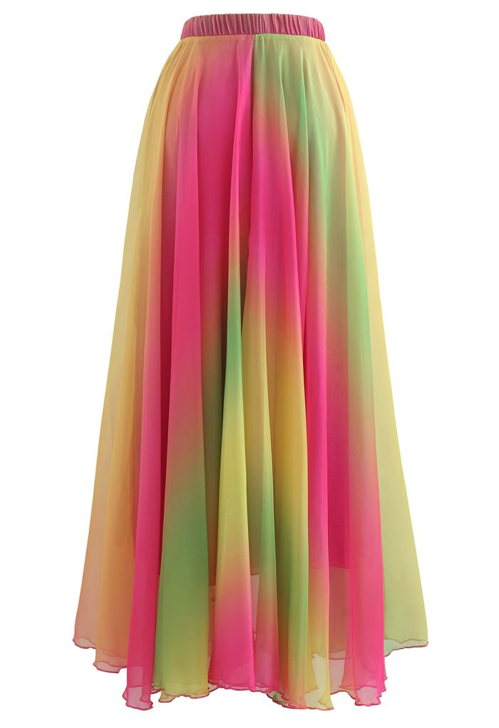 Jupe longue en mousseline tie dye en rose vif
