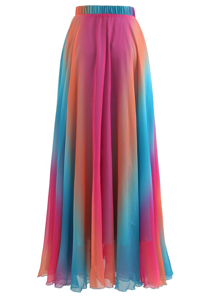 Jupe longue en mousseline tie dye en bleu