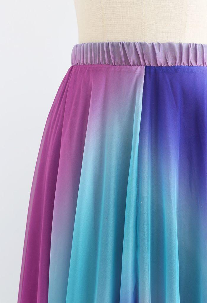 Jupe longue en mousseline tie dye en violet