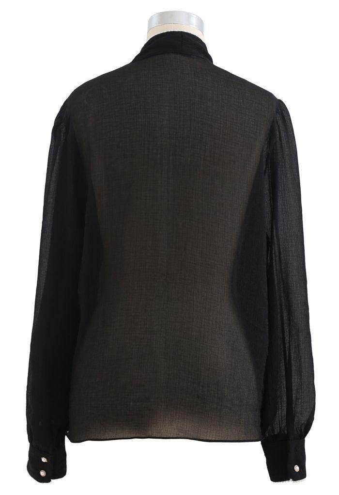Chemise semi-transparente à bordure perle Bowknot en noir