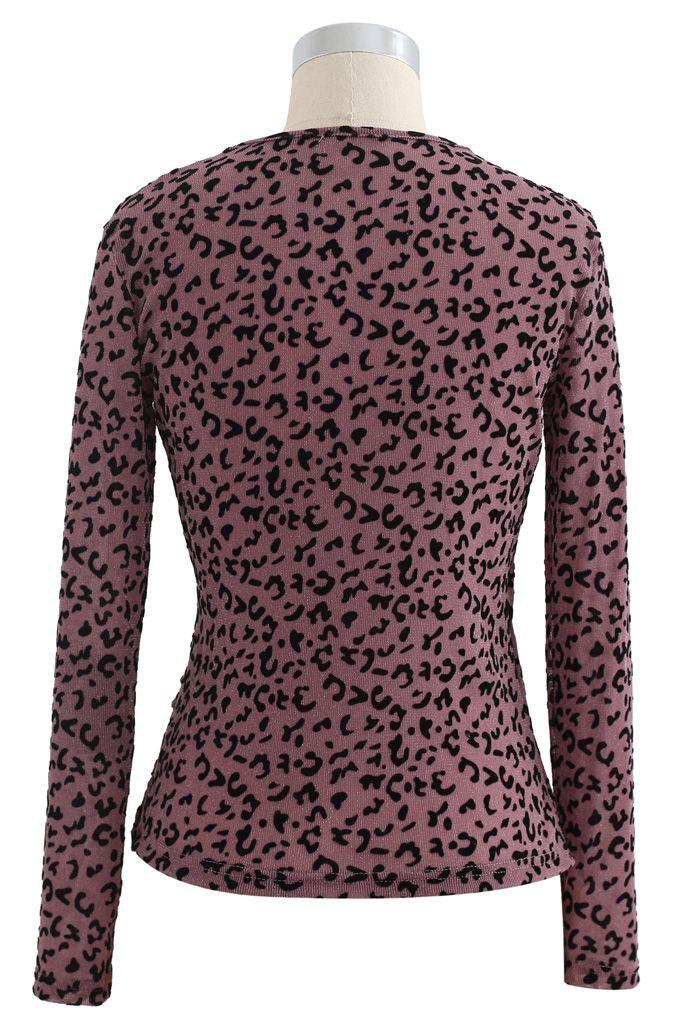 Haut cache-cœur en velours léopard à pois