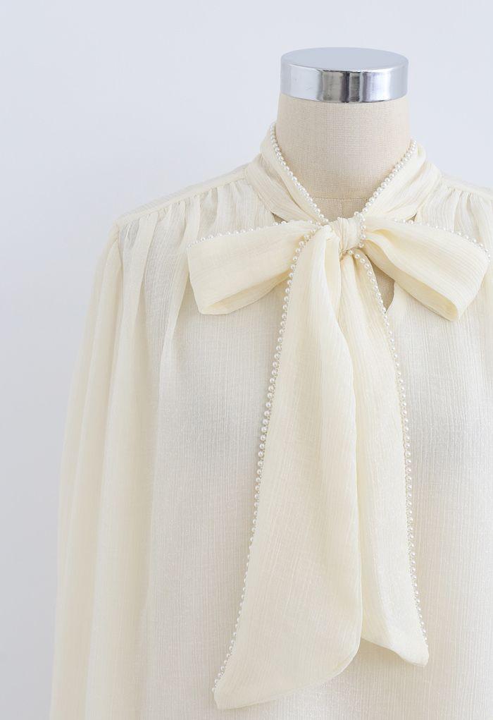 Chemise semi-transparente à bordure perle Bowknot en crème