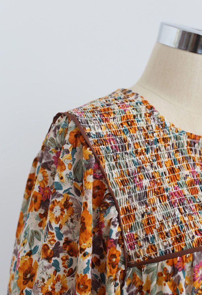 Robe Dolly fleurie à manches bouffantes