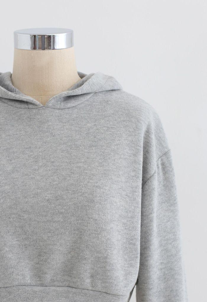 Ensemble short et sweat à capuche court en coton mélangé en gris