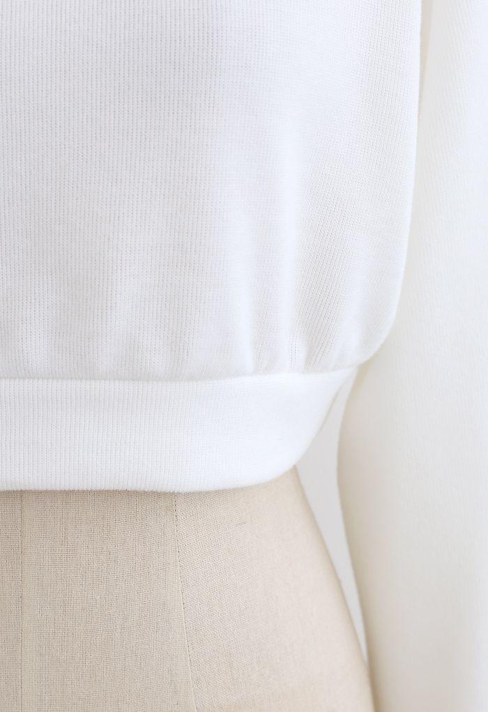 Ensemble short et sweat à capuche court en coton mélangé en blanc