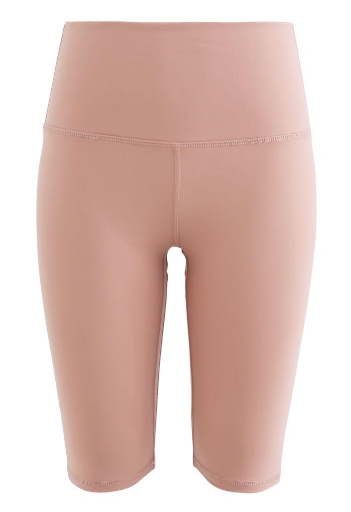 Short legging sculpté taille haute avec coutures en rose