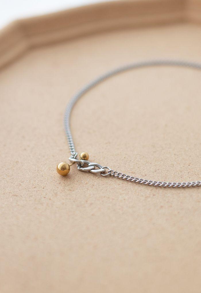 Collier chaîne à pendentif perle dorée