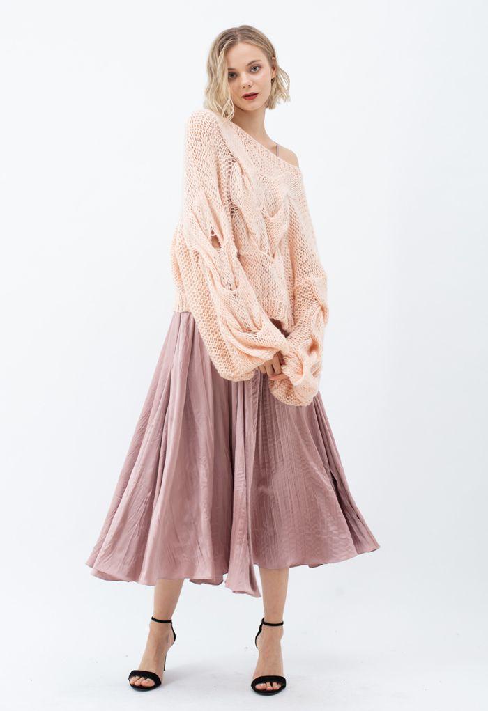 Robe longue nuisette en satin à col en V en rose poudré