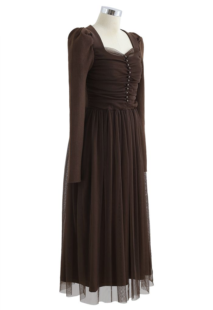 Square Neck Shirred Tulle Mesh Rib Knit Dress in Brown