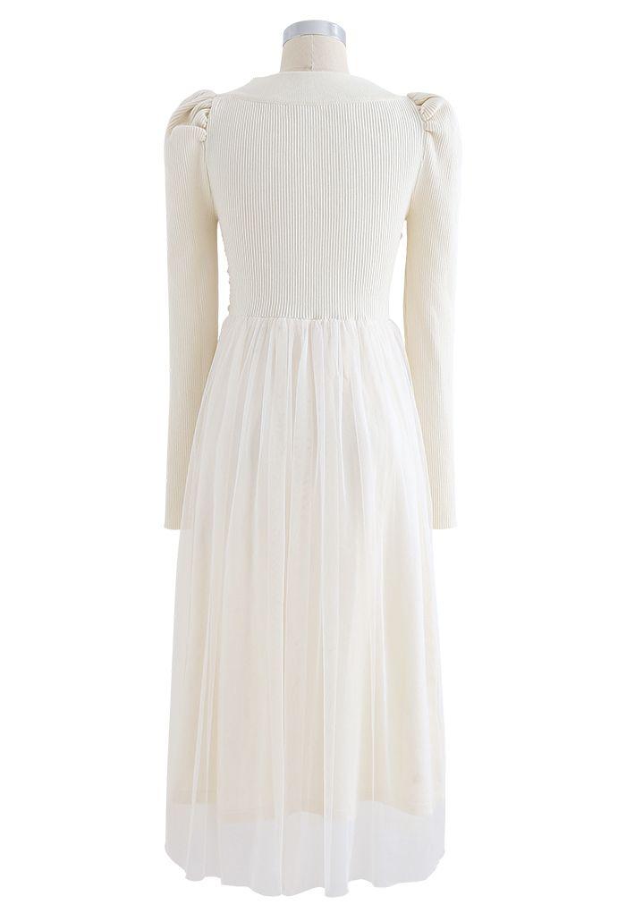Square Neck Shirred Tulle Mesh Rib Knit Dress in Cream