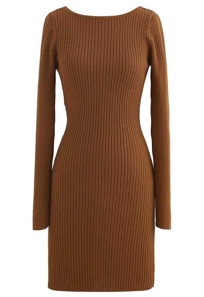 Twist Back Ribbed Bodycon Knit Dress in Caramel