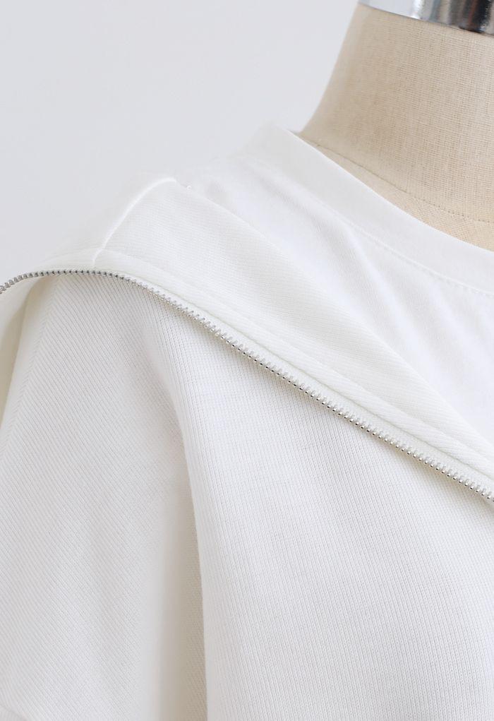 Sweat zippé épissé sur le devant en blanc