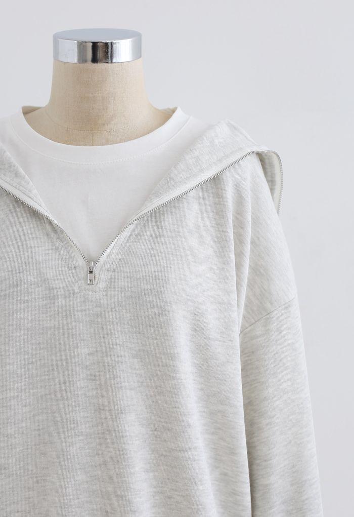 Sweat zippé épissé sur le devant en gris clair