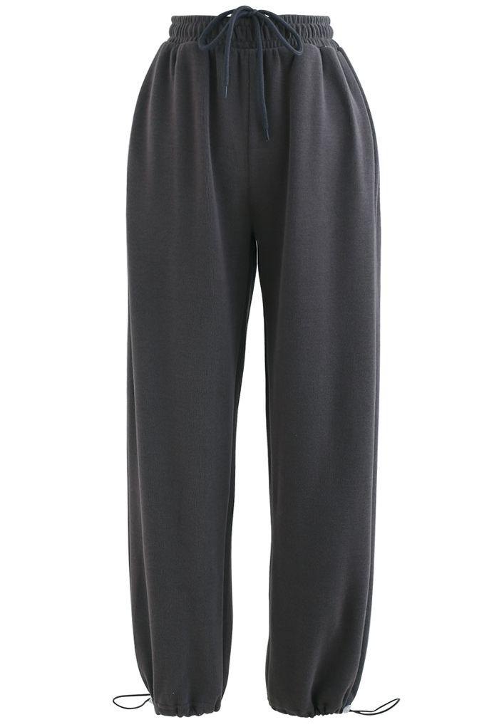 Pantalon de jogging avec cordon de serrage et poche plaquée cœur en fumée
