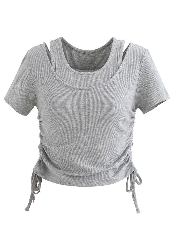 Crop top deux pièces avec cordon de serrage en gris