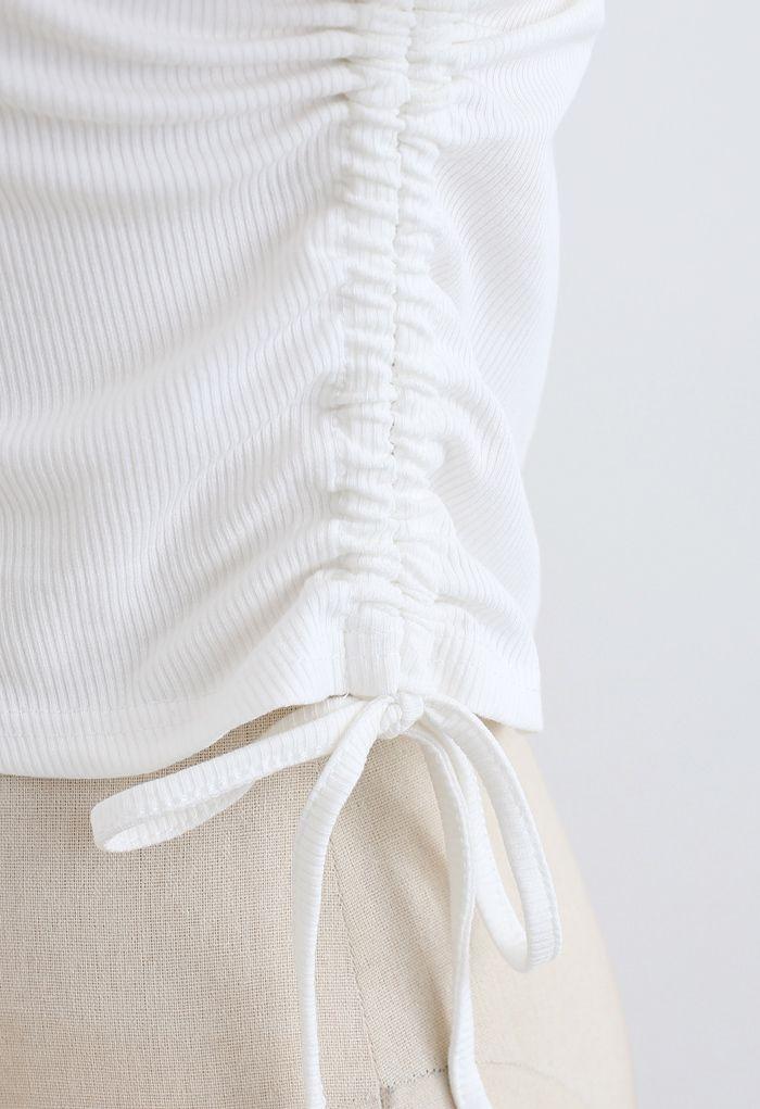 Faux top court à cordon de serrage en deux pièces en blanc