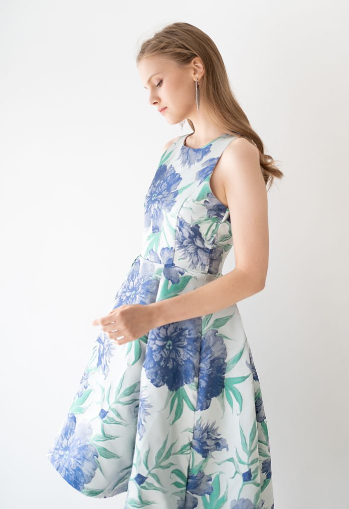Robe sans manches bleu Dahlia Jacquard Waterfall