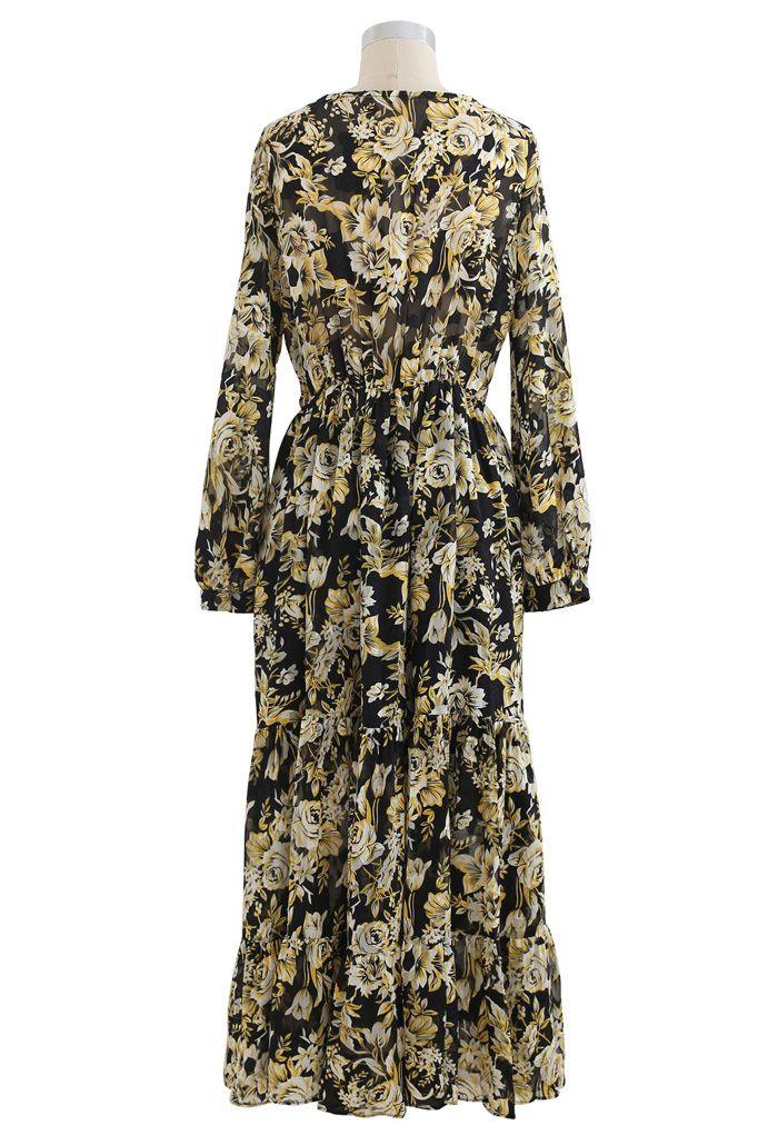 Floral Jacquard Frilling Wrap Dress