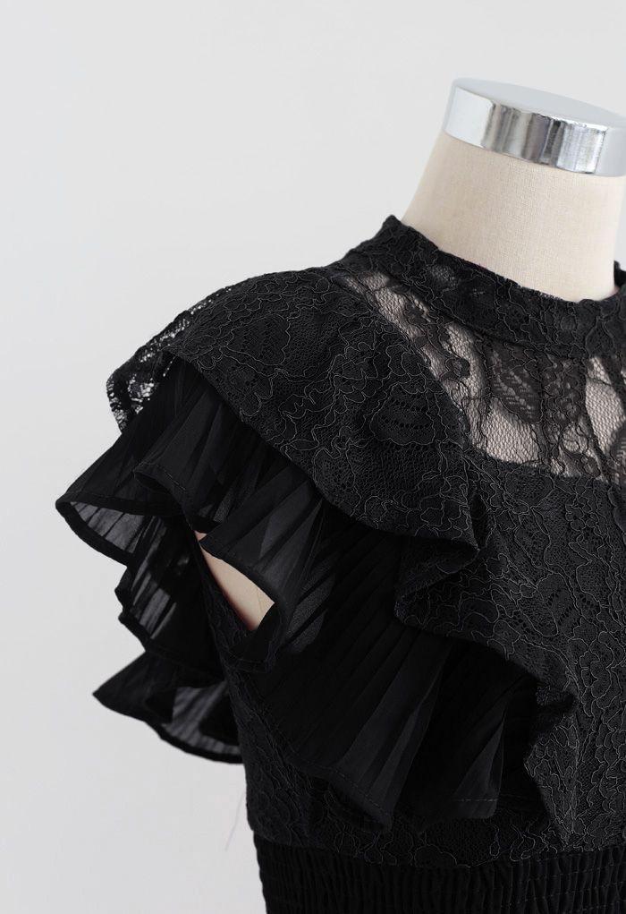 Tiered Ruffle Sleeveless Midi Lace Dress in Black