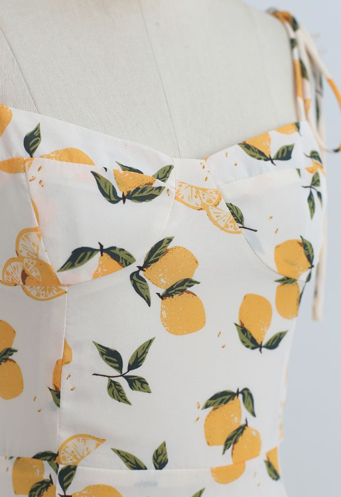 Lemon Print Sweetheart Self-Tie Cami Dress