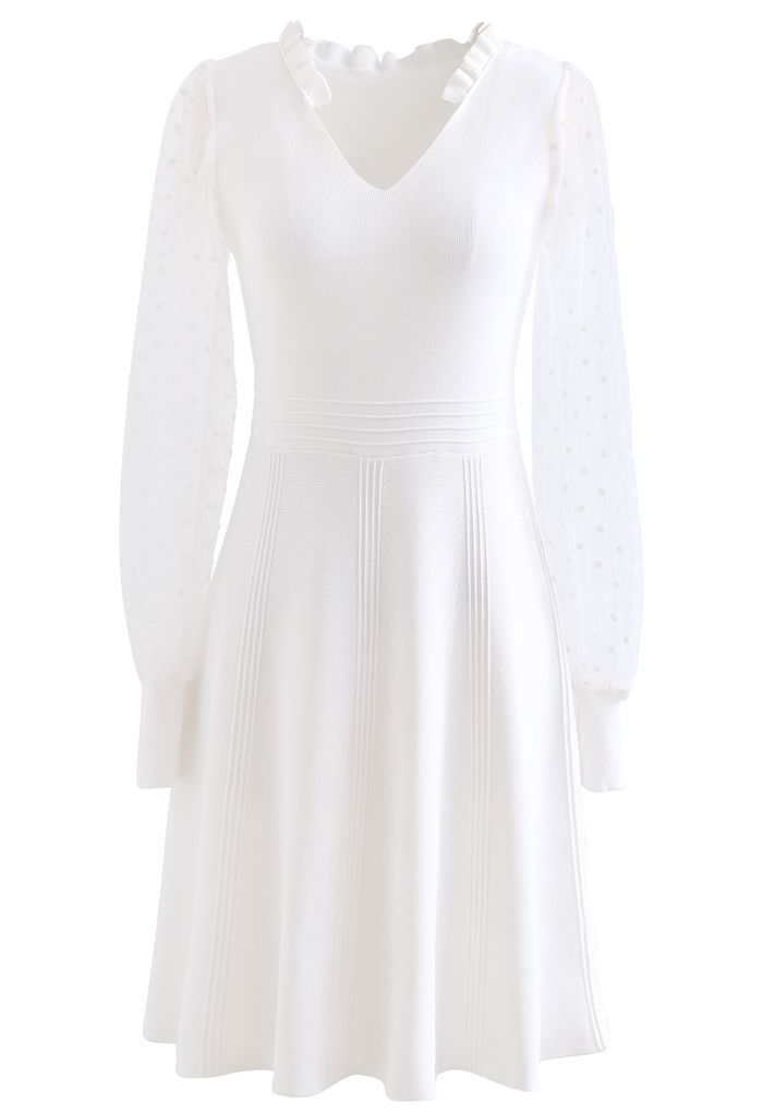 Sheer Dotted Sleeves V-Neck Knit Dress in White