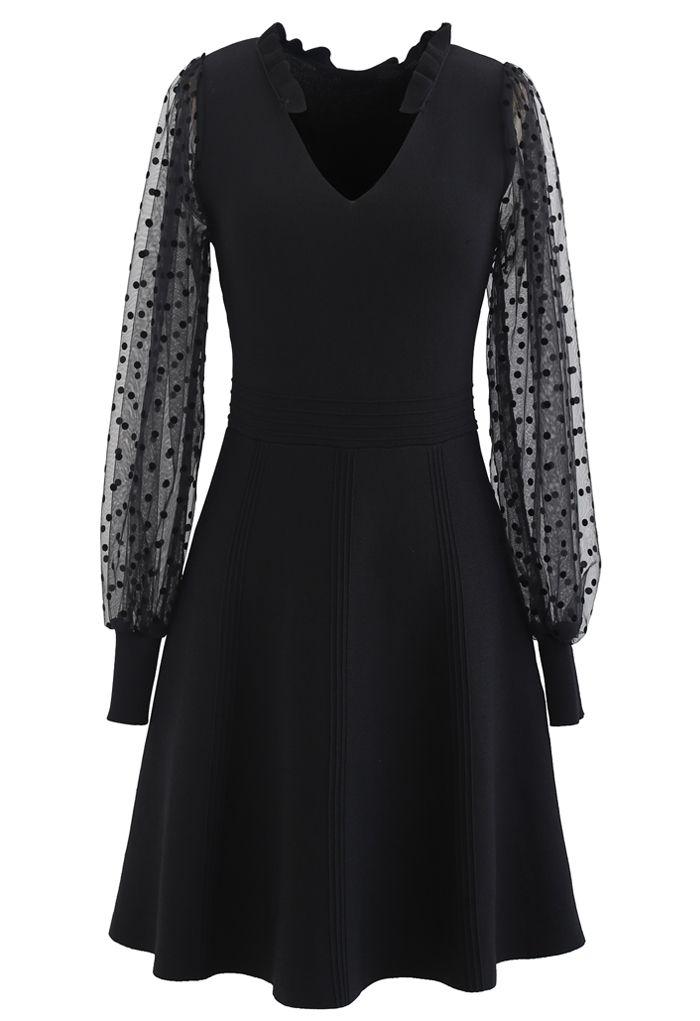 Sheer Dotted Sleeves V-Neck Knit Dress in Black